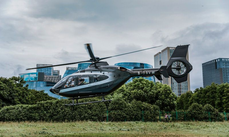 Tourist helicopter lifting off