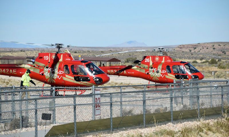 Papillon helicopters sat on helipad
