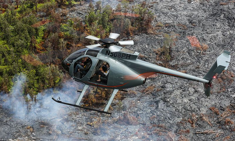 Paradise Helicopter MD500 over active volcano on The Big Island