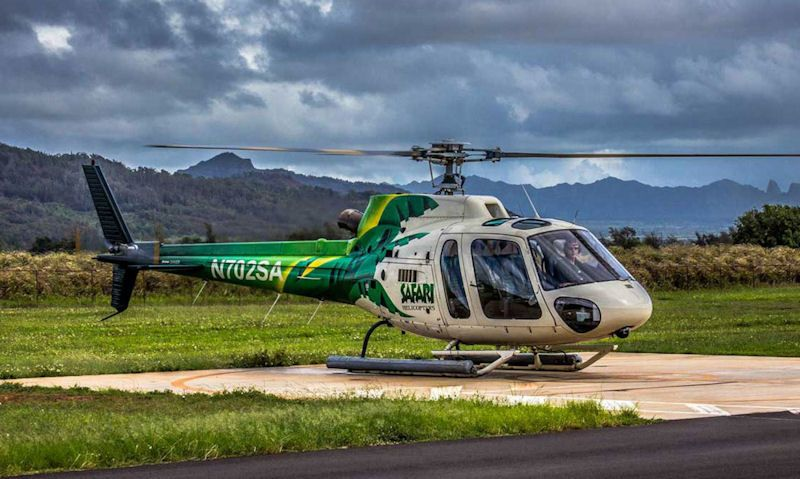 Safari Helicopters Airbus H125 on heliport landing pad