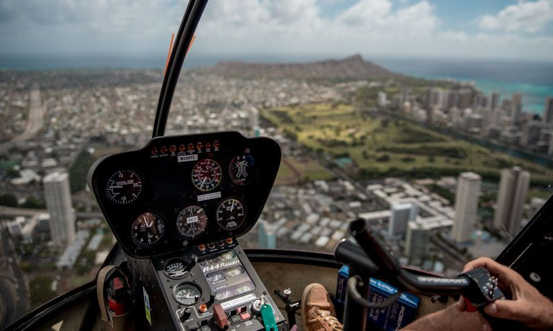 Honolulu as seen through Robinson R44 co-pilot side seat window