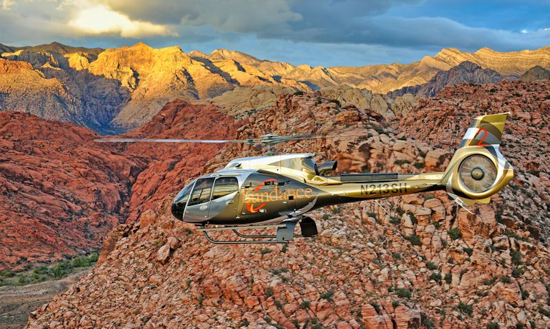 Sundance helicopter seen in flight over Grand Canyon West Rim