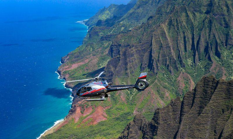 Maverick Helicopter flying over Kauai coast