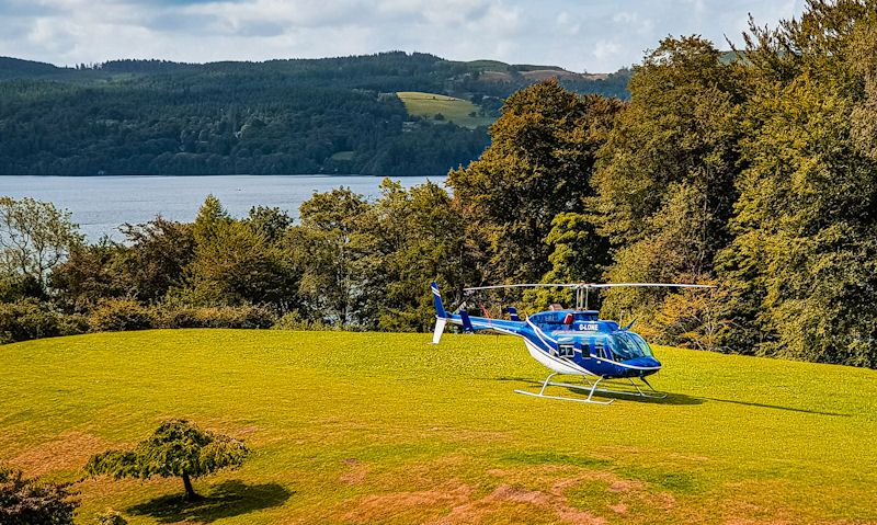 Central Helicopter Bell 206 LongRanger settled on a private Lake District site
