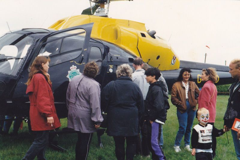 Me and a crowd checkout the police helicopter interior