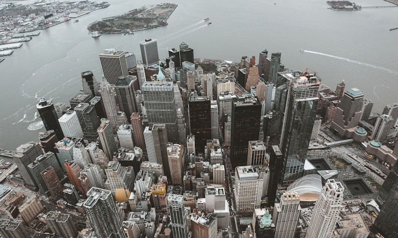 Lower Manhattan as seen through open door helicopter ride