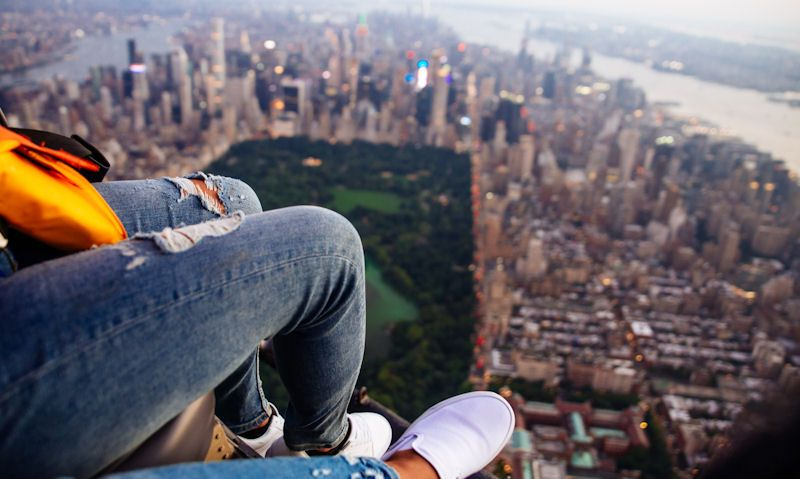 Shoe Selfie helicopter rides over New York City