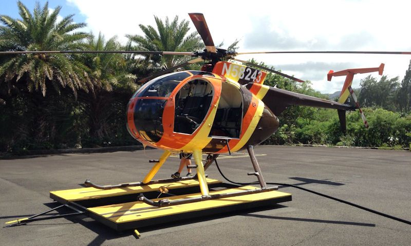 Paradise Helicopters replica Magnum P.I. MD500 chopper on Turtle Bay Resort helipad